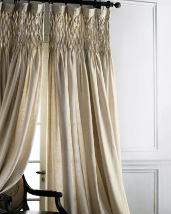 "Each 42""W x 96""L Smocked Linen Curtain"