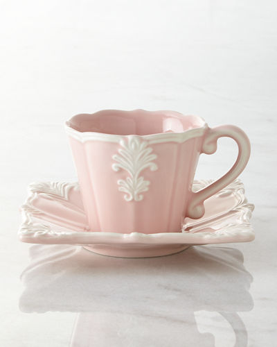 Four Pink Square Baroque Cups & Saucers