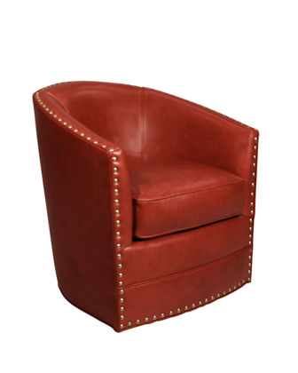 Bryn St Clair Red Leather Swivel Chair