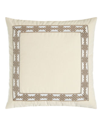 "Velvet Pillow with Border Detail, 22""Sq."