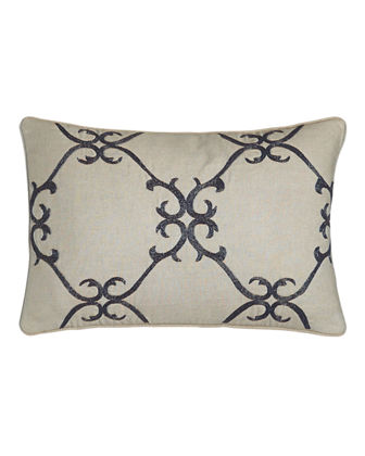 "Dante 12"" x 18"" Beaded Scrollwork Pillow"