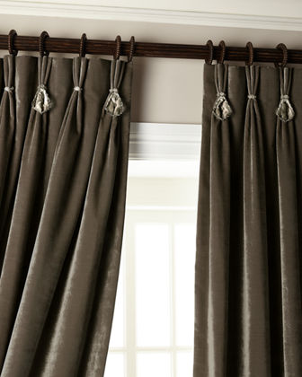 "132""L Velvet Curtain with Asfour Crystals"