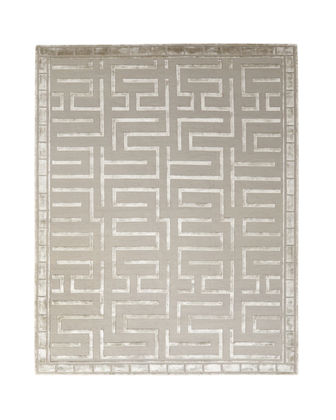 Exquisite Rugs Rowling Maze Hand-Knotted Hand-Knotted Rug, 12'