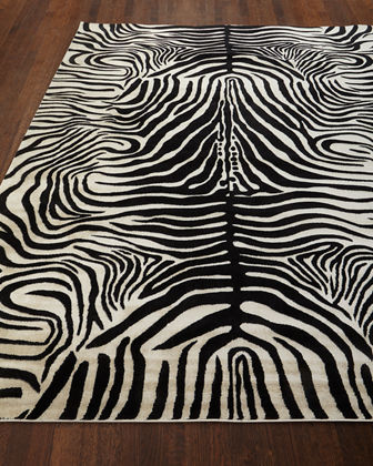 Dariya Power-Loomed Zebra Rug, 3.9' x 5.9'