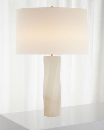 Leitha Large Alabaster Table Lamp with Linen Shade