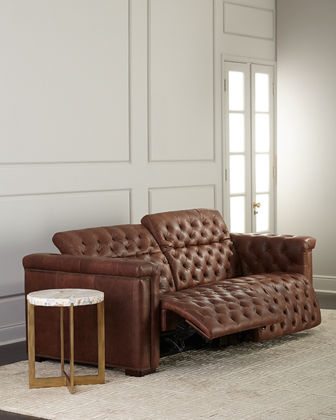 Luca Tufted Leather Motion Sofa, 88""
