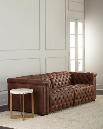 Luca Tufted Leather Motion Sofa  88