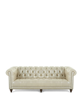 Lara Leather Chesterfield Sofa, 94""