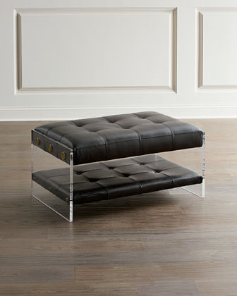 John-Richard Collection Hype Park Lucite & Leather Ottoman