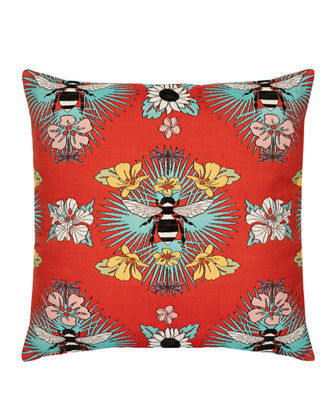 Tropical Bee Sunbrella Pillow