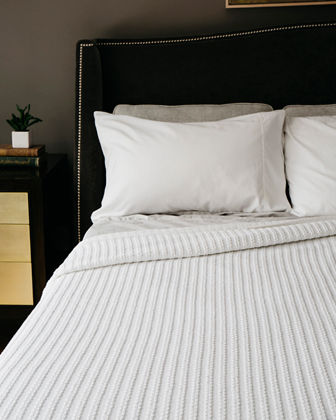 Cable Knit Herringbone Cotton Twin Blanket, Bright White