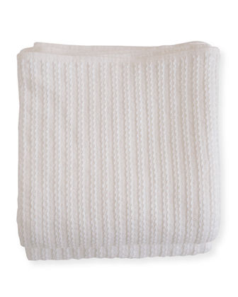 Evangeline Linens Cable Knit Herringbone Cotton Twin Blanket,
