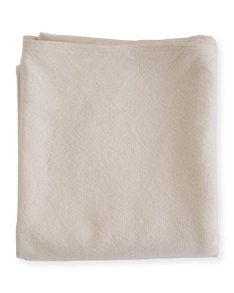 Evangeline Linens Simple Herringbone Cotton Blanket, Natural