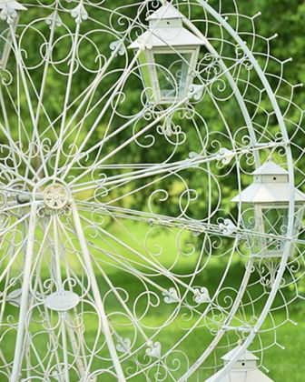 Large Iron Ferris Wheel Stand with 8 Glass Lanterns