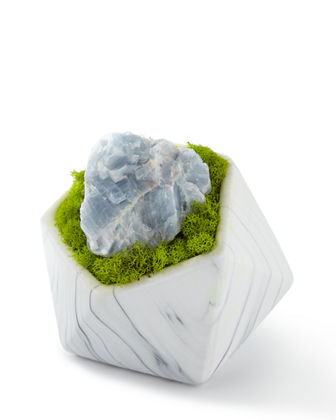 Geode in White Marble Container
