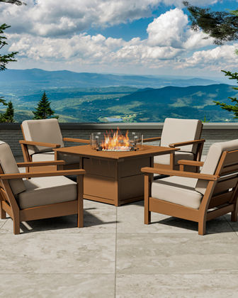 All-Weather 5-Piece Conversation Set with Fire Pit Table