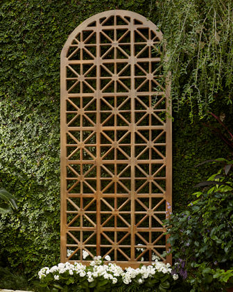 Arched Teak Lattice Floor Screen